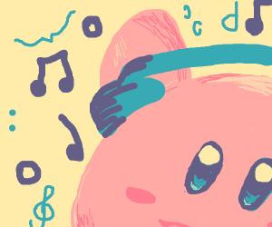 Kirby listening to music.