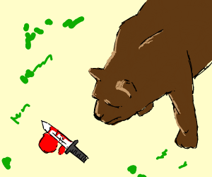 some bear finds a bloodied knife in a forest