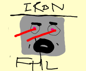 Block of iron with eyes