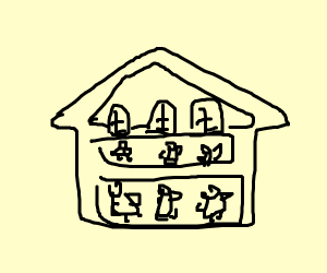 outline of dollhouse