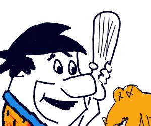 Fred Flintstone defeats a dinosaur