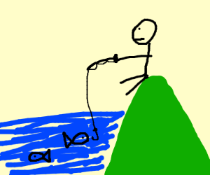 A man fishing while sitting a hill