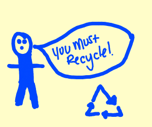 Blue man wants you to recycle