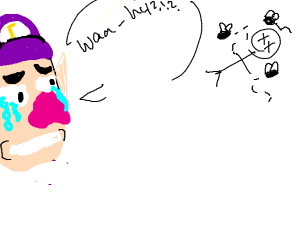 Waluigi mourning over a corpse