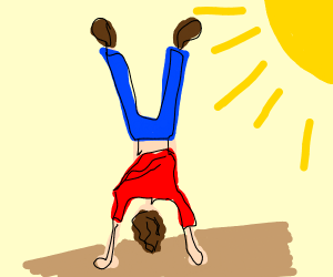 A man upsidown/A man doing hair stand?