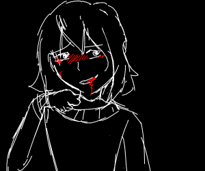 cute girl got some blood in her mouth