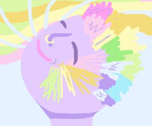 Rainbow haired punk smiling & full of joy