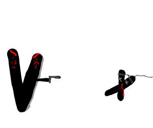 V kills X