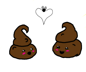 Two poos in love while a fly makes a heart