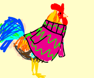A rooster wearing a sweater
