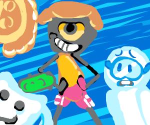 Surfer alien is proud