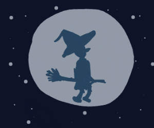 witch flying in the night sky