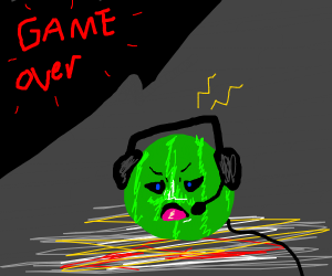 Watermellon gamer getting salty at a gameover