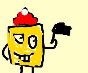 santa spongebob speeking with a window wiper