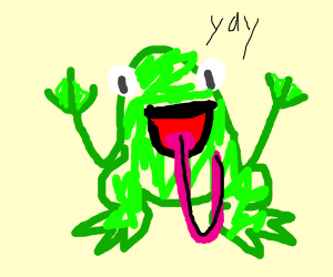 A very excited frog