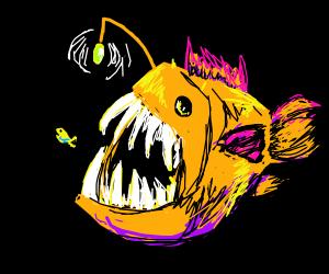Angler fish eating tiny fish