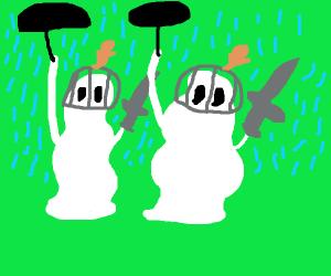Chivalrous Ghosts Under Umbrella