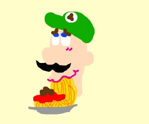 Luigi (Mario Bros)eating spaghetti