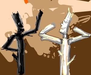 Black stick figure encouraging white stick fi
