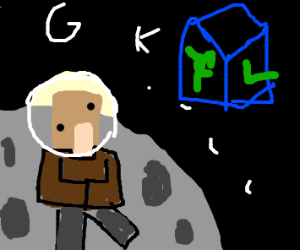 Villager from Minecraft on the moon