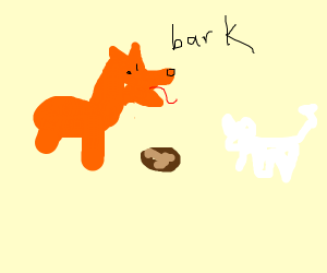 2 dogs (1orange,1white) barking out of a pota