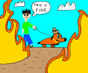Man walking dog on fire because it is so hot