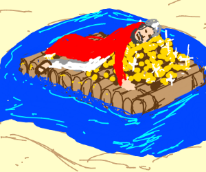 Dying Bedouin on a raft w/ gold