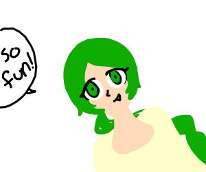 Green hair lady says so fun