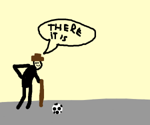an old man finding his soccer ball