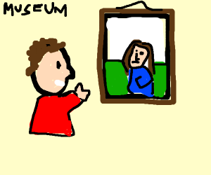 Man looking at painting