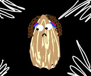 sad almond with braids