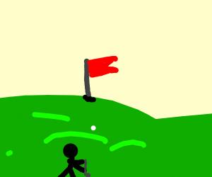 Stick man plays golf, makes a drive