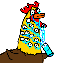 Rooster covered in eyes holding a cup o tears