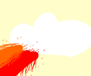 cloud with red and orange coming from it