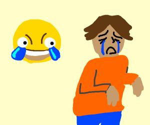 scary happy emoji making a man cry