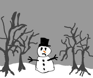 Snowman surrounded by dead trees