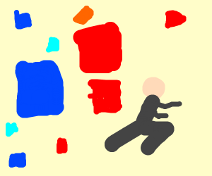guy running from blue and red squares