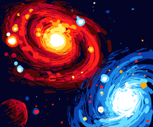 Beautiful galaxies and planet