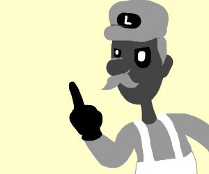 Luigi puts middle finger up (inverted colour)
