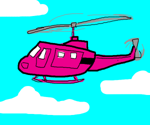 A pink helicopter