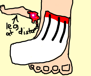 sock on foot with another leg behind