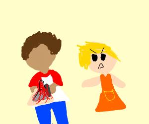 bully takes someone's model volcano