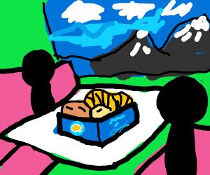 2 guys eating long john silver food