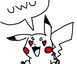 Pikachu with heart eyes