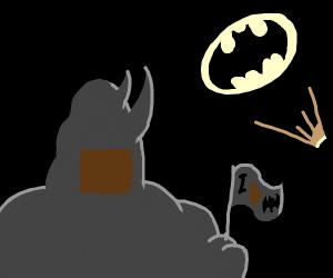 Rhino man is a Batman fan