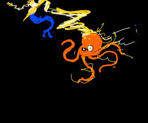 Poseidon smiting an octopus