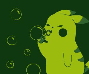 pikachu blowing bubbles uwu