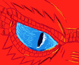 Red, scaly dragon's eyes gleam