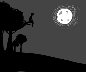 Watching the moon from a tree