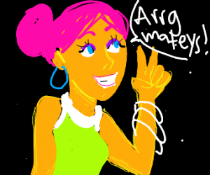 Cute Retro Space Pirate Girl